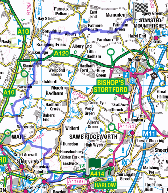 Overview map for Harlow to Manuden